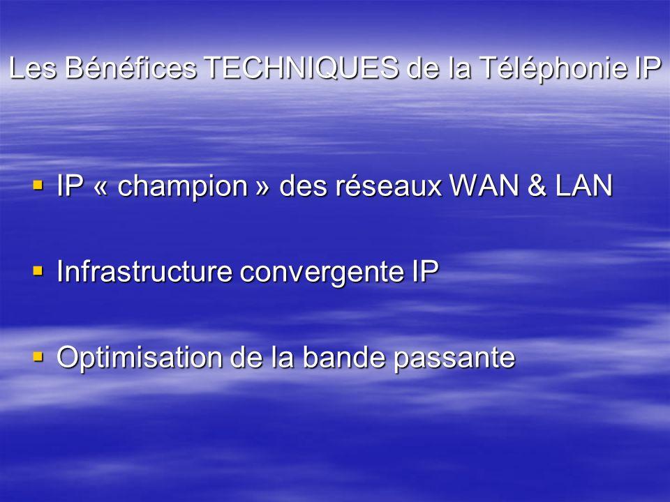 Les Bénéfices TECHNIQUES de la Téléphonie IP IP « champion » des réseaux WAN & LAN IP « champion » des réseaux WAN & LAN Infrastructure convergente IP
