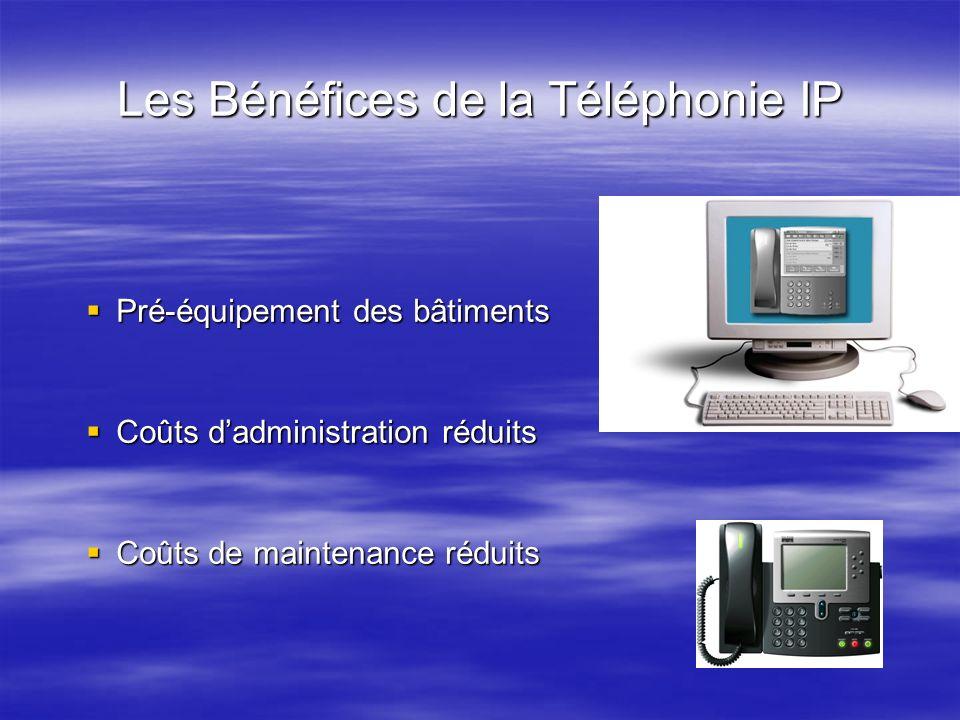 Les Bénéfices de la Téléphonie IP Pré-équipement des bâtiments Pré-équipement des bâtiments Coûts dadministration réduits Coûts dadministration réduit