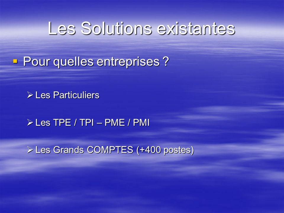 Les Solutions existantes Pour quelles entreprises ? Pour quelles entreprises ? Les Particuliers Les Particuliers Les TPE / TPI – PME / PMI Les TPE / T
