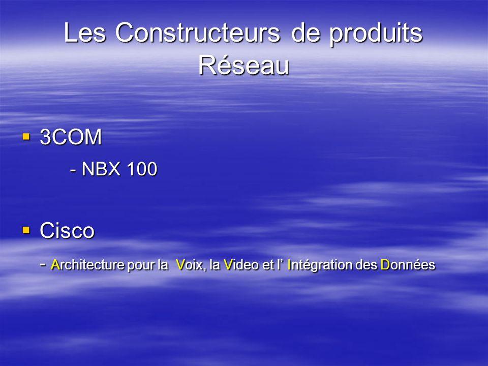Les Constructeurs de produits Réseau 3COM 3COM - NBX 100 Cisco Cisco - Architecture pour la Voix, la Video et l Intégration des Données