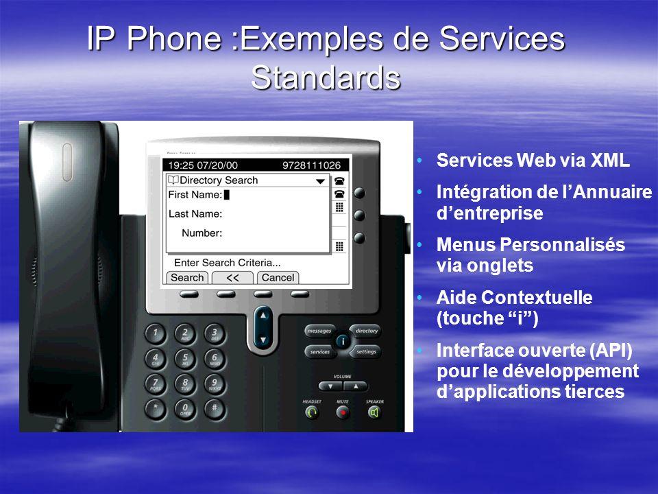 IP Phone :Exemples de Services Standards Services Web via XML Intégration de lAnnuaire dentreprise Menus Personnalisés via onglets Aide Contextuelle (