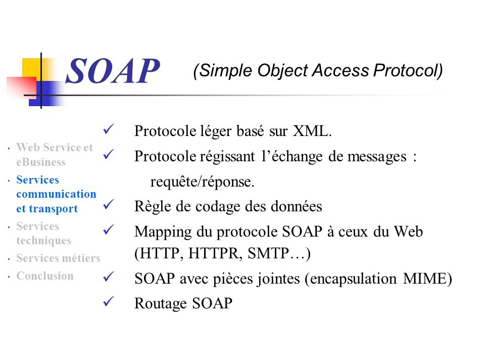 SOAP Protocole léger basé sur XML. Protocole régissant léchange de messages : requête/réponse. Règle de codage des données Mapping du protocole SOAP à