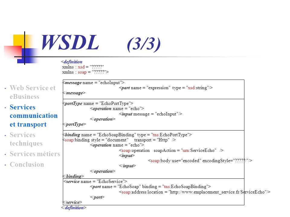 WSDL (3/3) Web Service et eBusiness Services communication et transport Services techniques Services métiers Conclusion <definition xmlns : xsd = ????? xmlns : soap = ????? >