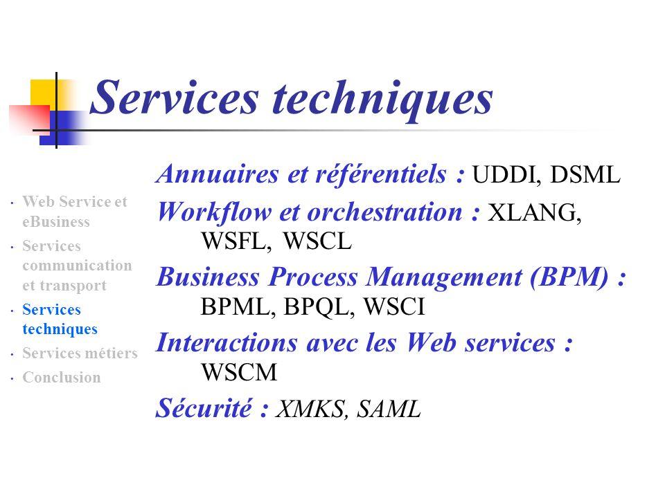 Services techniques Annuaires et référentiels : UDDI, DSML Workflow et orchestration : XLANG, WSFL, WSCL Business Process Management (BPM) : BPML, BPQ