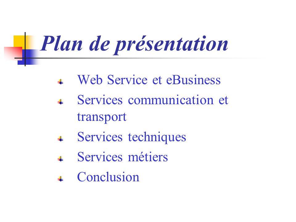 Plan de présentation Web Service et eBusiness Services communication et transport Services techniques Services métiers Conclusion