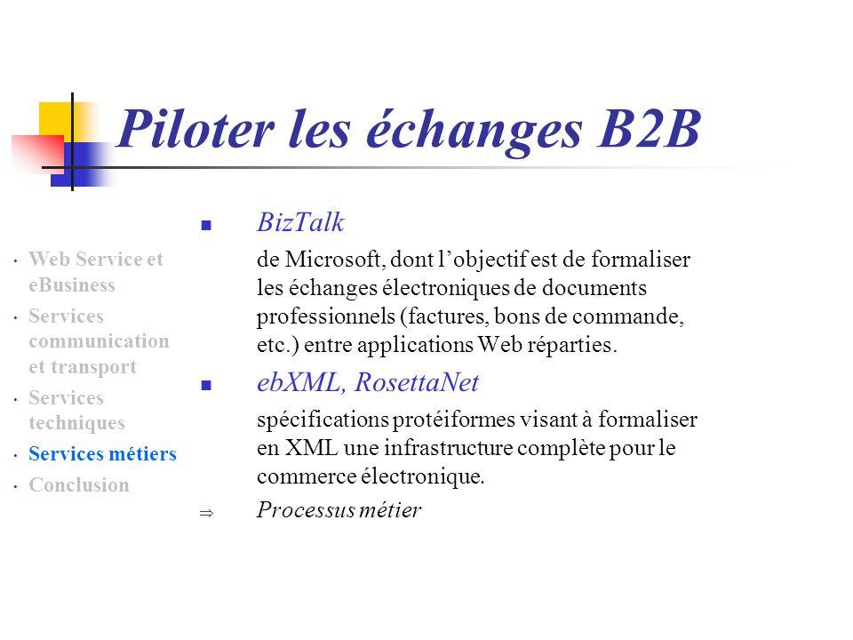 Piloter les échanges B2B BizTalk de Microsoft, dont lobjectif est de formaliser les échanges électroniques de documents professionnels (factures, bons de commande, etc.) entre applications Web réparties.