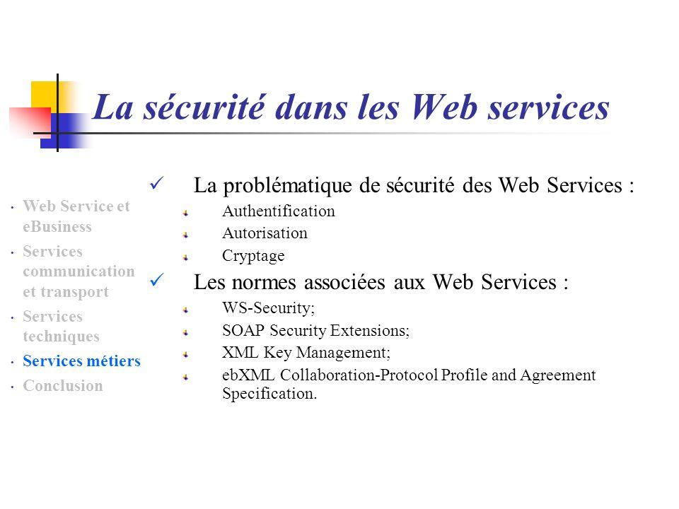La sécurité dans les Web services La problématique de sécurité des Web Services : Authentification Autorisation Cryptage Les normes associées aux Web Services : WS-Security; SOAP Security Extensions; XML Key Management; ebXML Collaboration-Protocol Profile and Agreement Specification.