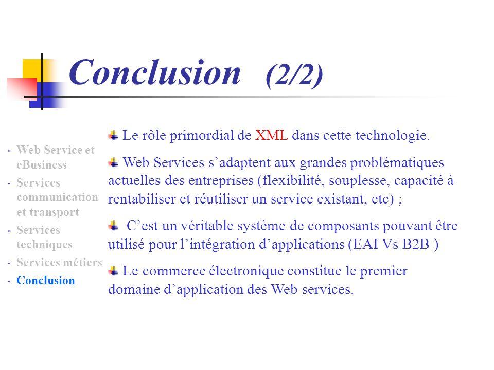 Conclusion (2/2) Web Service et eBusiness Services communication et transport Services techniques Services métiers Conclusion Le rôle primordial de XML dans cette technologie.