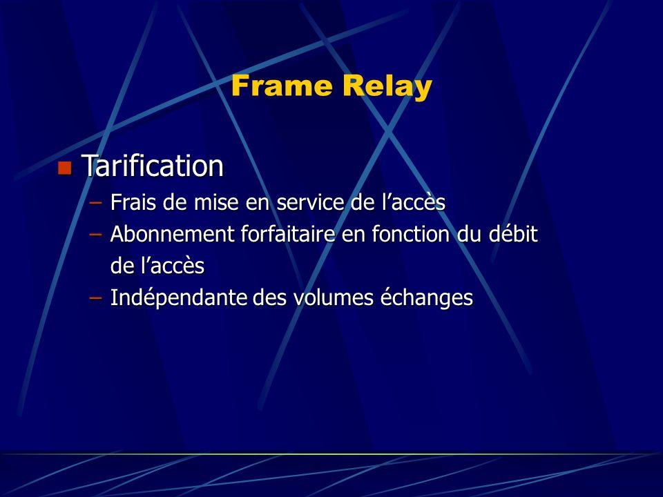 Frame Relay n Tarification –Frais de mise en service de laccès –Abonnement forfaitaire en fonction du débit de laccès de laccès –Indépendante des volumes échanges