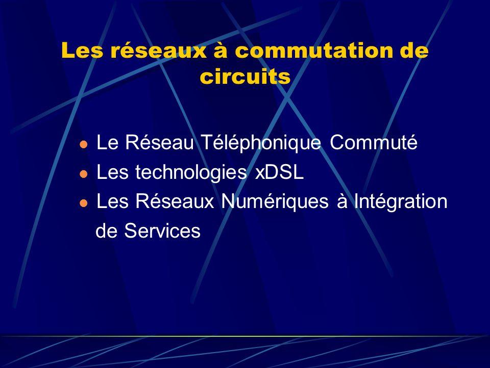 Les réseaux à commutation de circuits Le Réseau Téléphonique Commuté Les technologies xDSL Les Réseaux Numériques à Intégration de Services