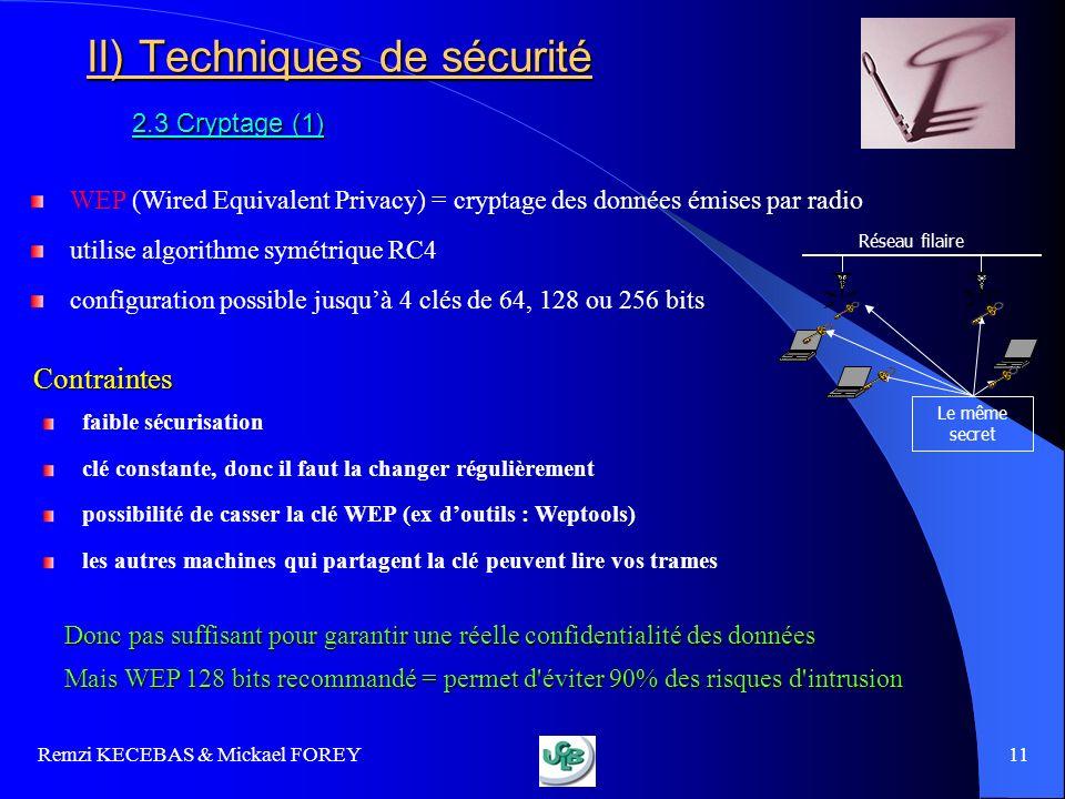 Remzi KECEBAS & Mickael FOREY 11 II) Techniques de sécurité 2.3 Cryptage (1) WEP (Wired Equivalent Privacy) = cryptage des données émises par radio ut