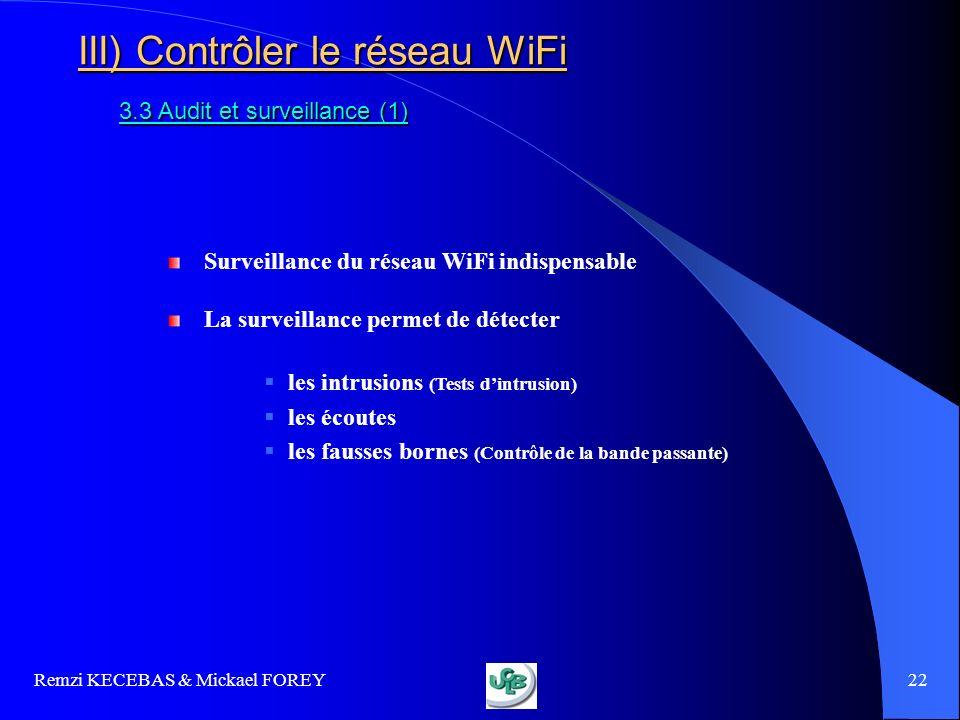 Remzi KECEBAS & Mickael FOREY 22 III) Contrôler le réseau WiFi 3.3 Audit et surveillance (1) Surveillance du réseau WiFi indispensable La surveillance