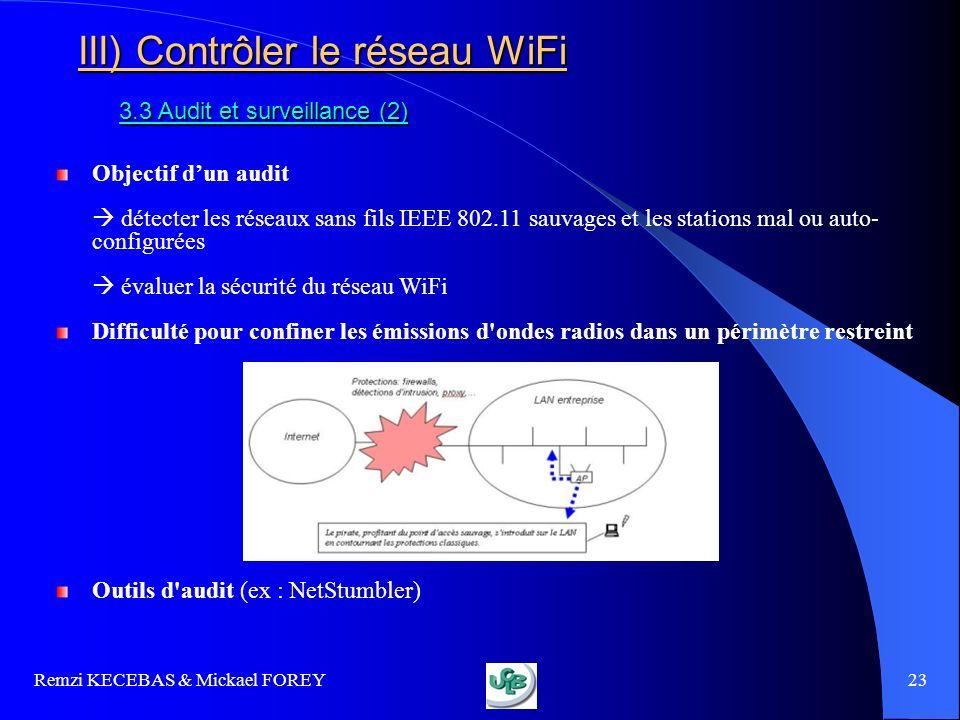 Remzi KECEBAS & Mickael FOREY 23 III) Contrôler le réseau WiFi 3.3 Audit et surveillance (2) Objectif dun audit détecter les réseaux sans fils IEEE 80
