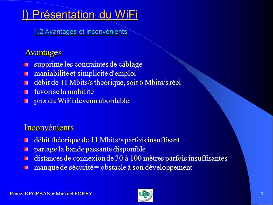 Remzi KECEBAS & Mickael FOREY 8 PLAN I) Présentation du WiFi 1.1 Modes de fonctionnement 1.1 Modes de fonctionnement 1.2 Avantages et inconvénients 1.2 Avantages et inconvénients III) Contrôler le réseau WiFi 3.1 Repérer les réseaux WiFi 3.1 Repérer les réseaux WiFi 3.2 Attaques réseaux 3.2 Attaques réseaux 3.3 Audit et surveillance 3.3 Audit et surveillance II) Techniques de sécurité 2.1 Identification des risques 2.1 Identification des risques 2.2 Premières règles de sécurité 2.2 Premières règles de sécurité 2.3 Cryptage 2.3 Cryptage 2.4 Authentification 2.4 Authentification 2.5 Augmenter la sécurité 2.5 Augmenter la sécurité 2.6 Une solution darchitecture sécurisée 2.6 Une solution darchitecture sécurisée