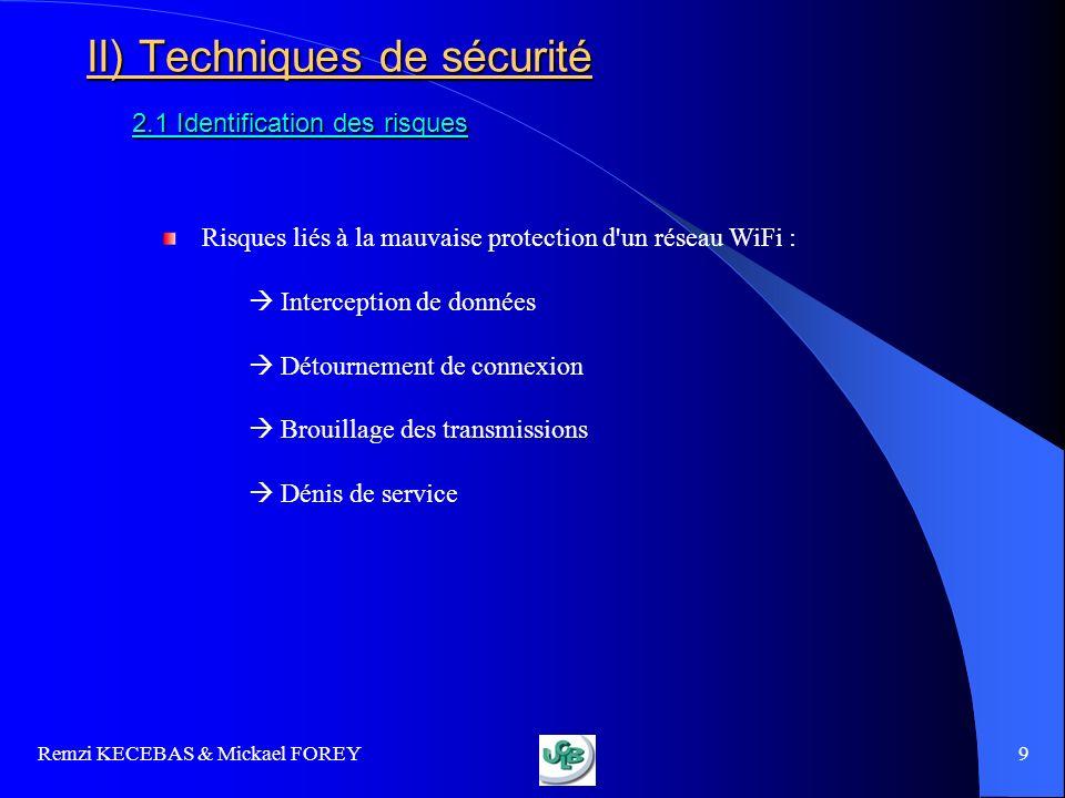 Remzi KECEBAS & Mickael FOREY 10 II) Techniques de sécurité 2.2 Premières règles de sécurité Ces conditions de sécurité sont minimales : Changer le mot de passe administrateur Changer le nom du réseau (SSID) installé par défaut Masquer le nom du réseau Régler la puissance démission du point daccès Vérifier quil nexiste pas dautres réseaux au même endroit