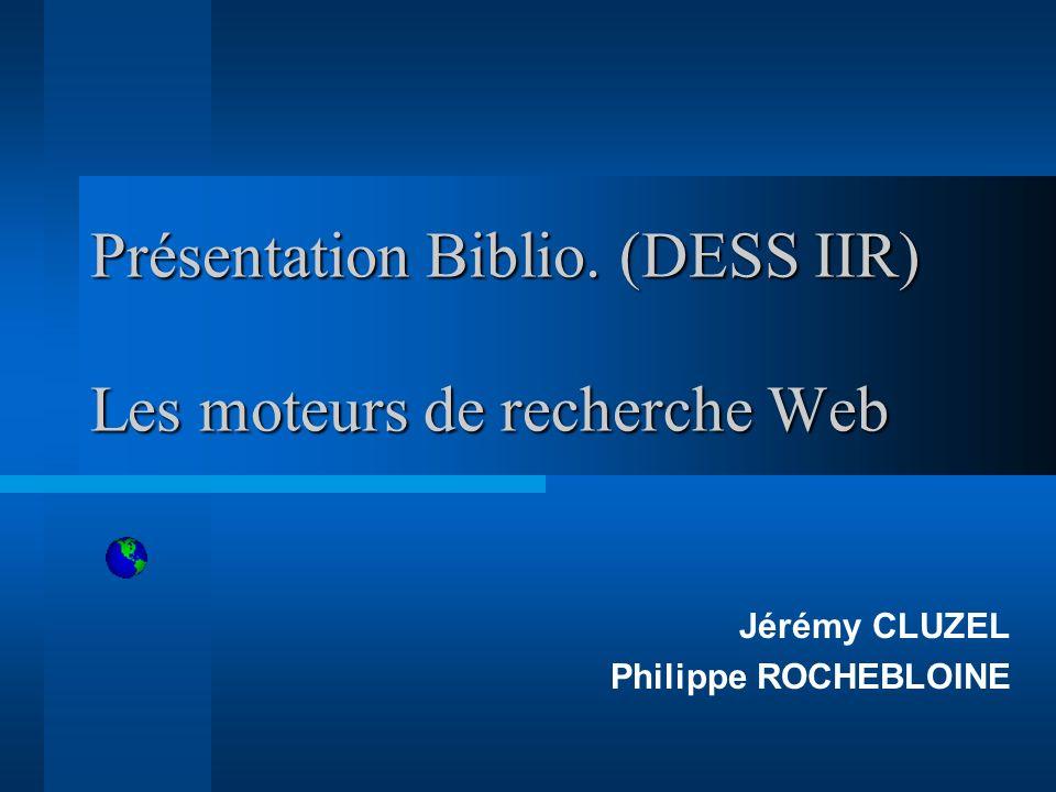 Les moteurs de recherche web Sommaire Introduction Définition Présentation Fonctionnement Architecture Conclusion