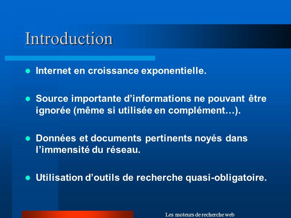 Les moteurs de recherche web Le système dindexation Analyse les informations collectées, construit un index des mots rencontrés (et des pages correspondantes), puis stocke lensemble dans une base de données.