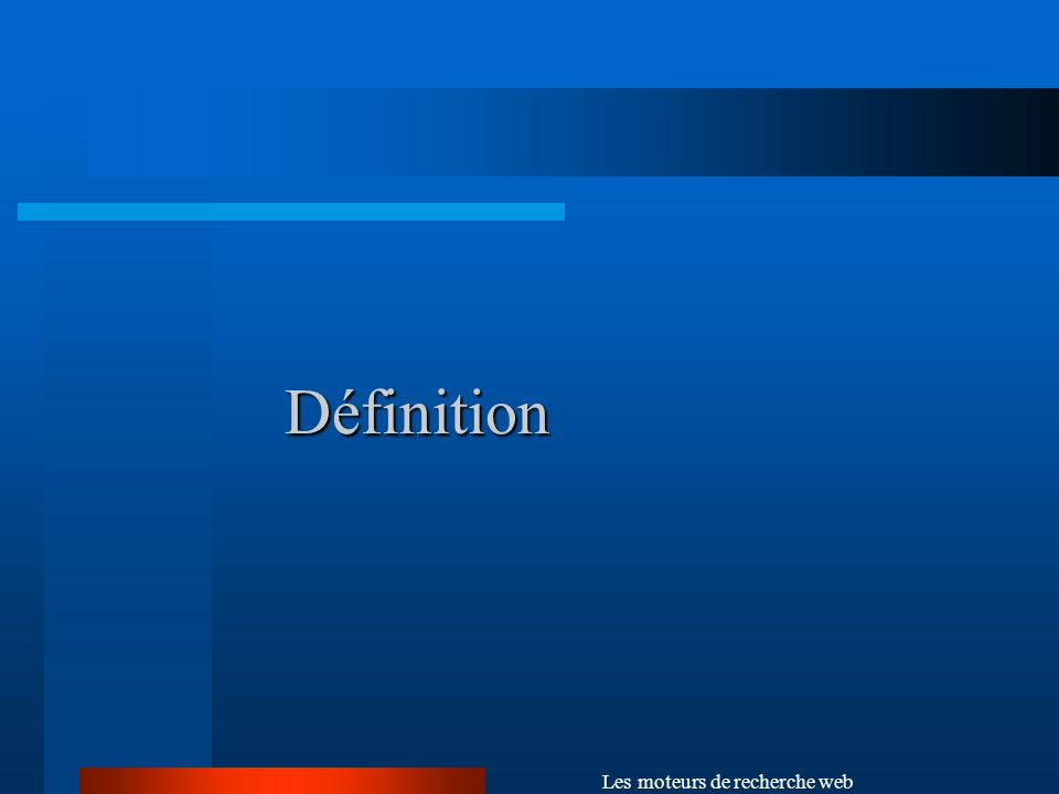 Les moteurs de recherche web Le système dindexation (suite) Les techniques dindexation : Au début, seulement les titres des documents, Puis, tous les mots du premier paragraphe, Aujourdhui : les méta-données (ou metatags ), ex: balise HTML.