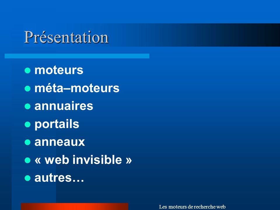 Les moteurs de recherche web Moteurs Outil permettant de rechercher les pages comportant une expression donnée.