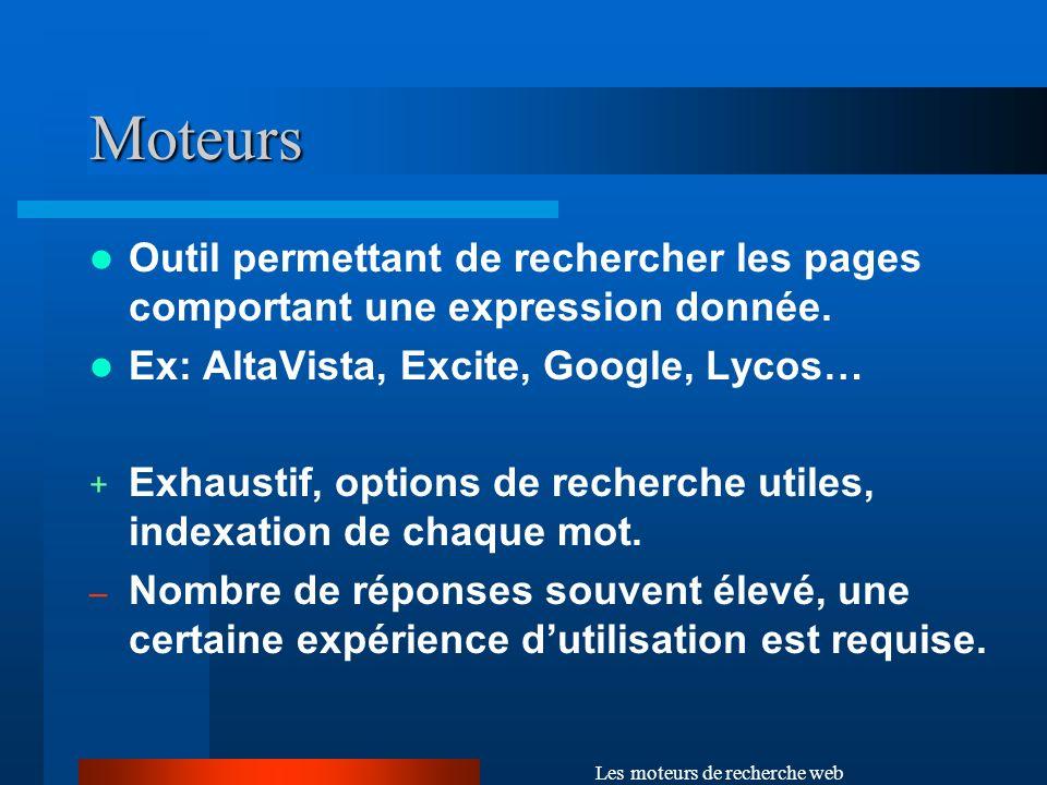 Les moteurs de recherche web Moteurs (suite) – les catégories Sémantiques : intégration du sens du langage au processus de recherche (dictionnaires de concepts, thésaurus).