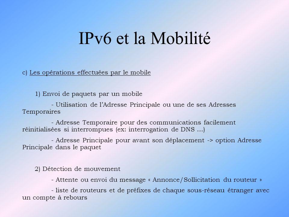 IPv6 et la Mobilité c) Les opérations effectuées par le mobile 1) Envoi de paquets par un mobile - Utilisation de lAdresse Principale ou une de ses Ad