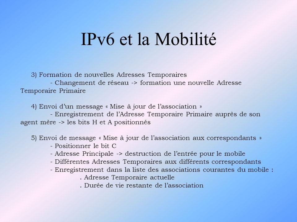 IPv6 et la Mobilité 3) Formation de nouvelles Adresses Temporaires - Changement de réseau -> formation une nouvelle Adresse Temporaire Primaire 4) Env