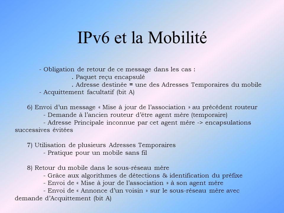 IPv6 et la Mobilité - Obligation de retour de ce message dans les cas :. Paquet reçu encapsulé. Adresse destinée = une des Adresses Temporaires du mob