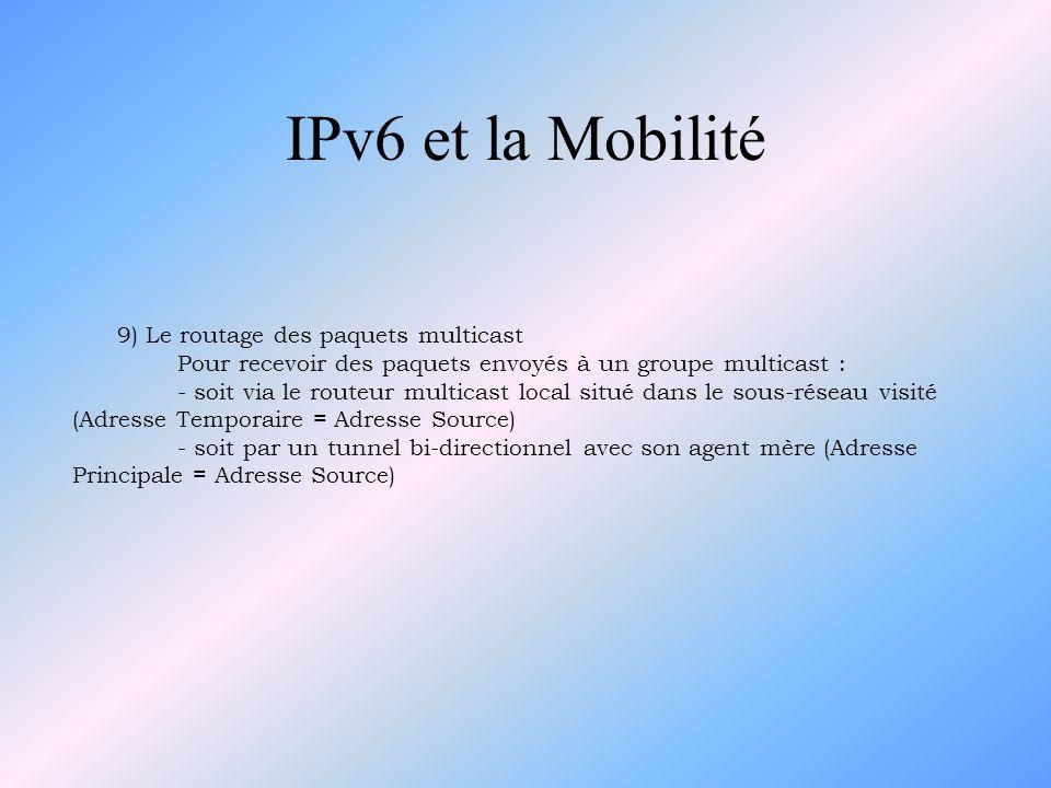 IPv6 et la Mobilité 9) Le routage des paquets multicast Pour recevoir des paquets envoyés à un groupe multicast : - soit via le routeur multicast loca