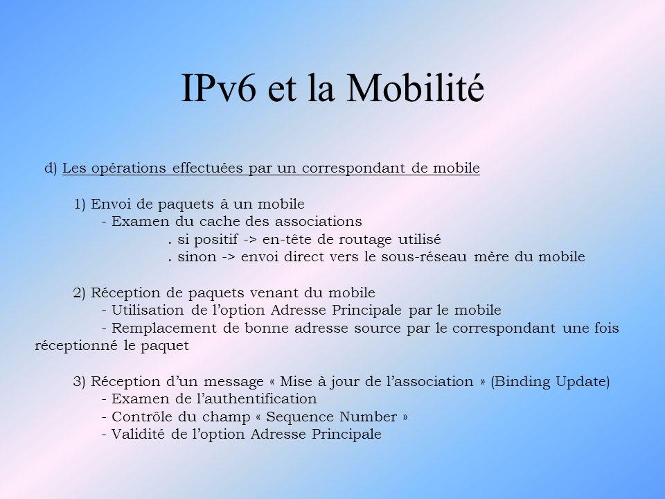 d) Les opérations effectuées par un correspondant de mobile 1) Envoi de paquets à un mobile - Examen du cache des associations. si positif -> en-tête