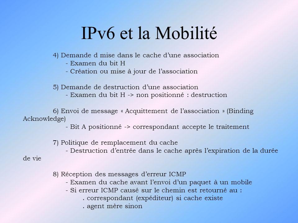 IPv6 et la Mobilité 4) Demande d mise dans le cache dune association - Examen du bit H - Création ou mise à jour de lassociation 5) Demande de destruc
