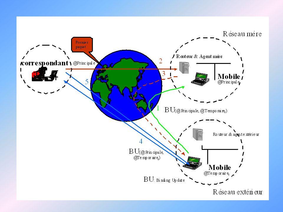 2- Connexion dans un nouveau réseau IPv6 et la Mobilité - Etablissement de connexion du mobile avec lagent extérieur du réseau étranger - Communication de ladresse originale et logique, et des informations privées