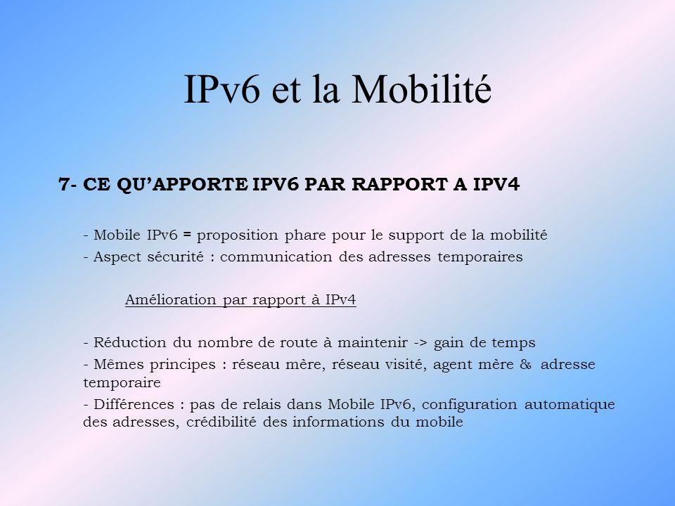7- CE QUAPPORTE IPV6 PAR RAPPORT A IPV4 - Mobile IPv6 = proposition phare pour le support de la mobilité - Aspect sécurité : communication des adresse