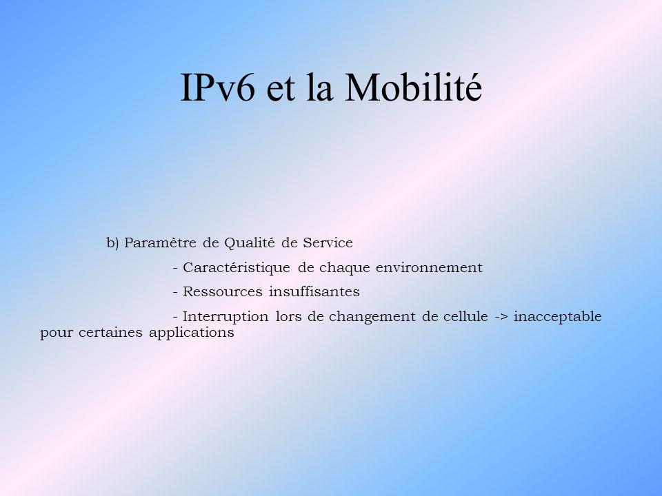 IPv6 et la Mobilité b) Paramètre de Qualité de Service - Caractéristique de chaque environnement - Ressources insuffisantes - Interruption lors de cha
