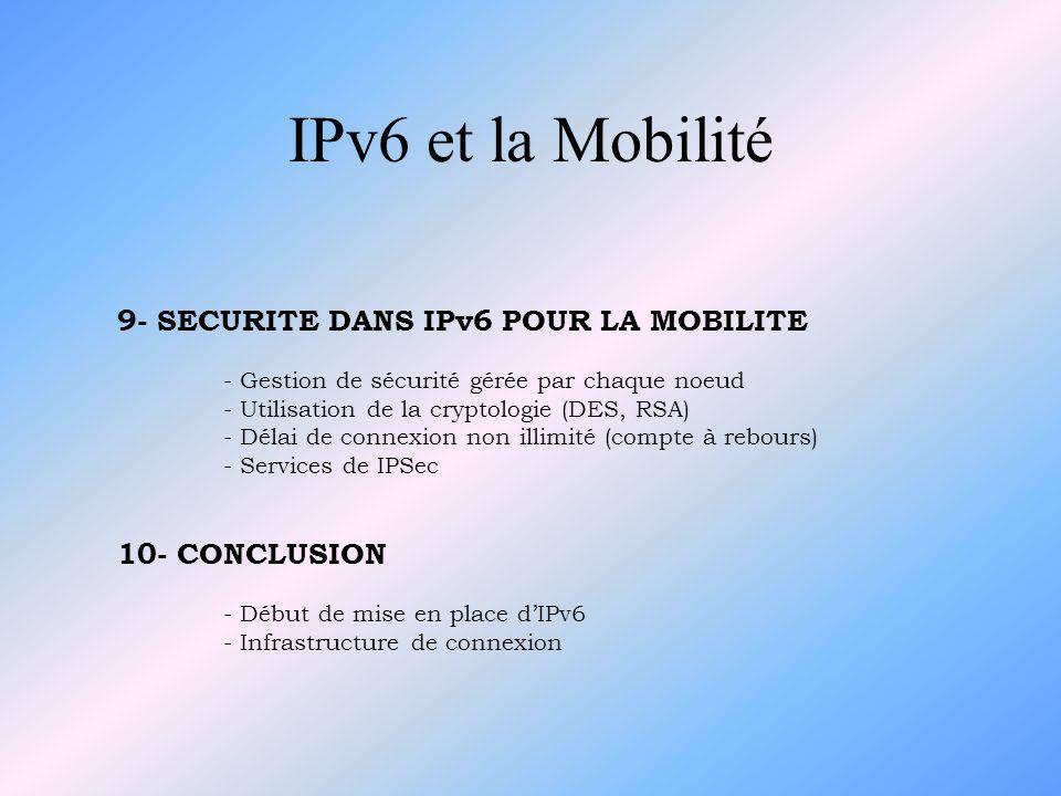 IPv6 et la Mobilité 9- SECURITE DANS IPv6 POUR LA MOBILITE - Gestion de sécurité gérée par chaque noeud - Utilisation de la cryptologie (DES, RSA) - D