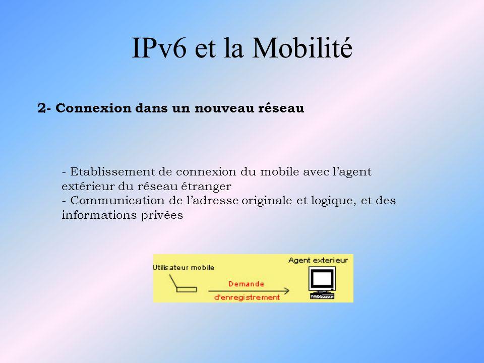 IPv6 et la Mobilité 9) Le routage des paquets multicast Pour recevoir des paquets envoyés à un groupe multicast : - soit via le routeur multicast local situé dans le sous-réseau visité (Adresse Temporaire = Adresse Source) - soit par un tunnel bi-directionnel avec son agent mère (Adresse Principale = Adresse Source)