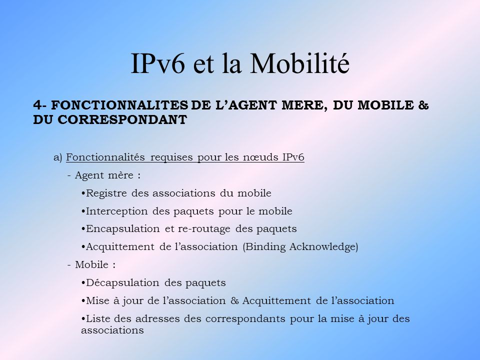 4- FONCTIONNALITES DE LAGENT MERE, DU MOBILE & DU CORRESPONDANT a) Fonctionnalités requises pour les nœuds IPv6 - Agent mère : Registre des associatio