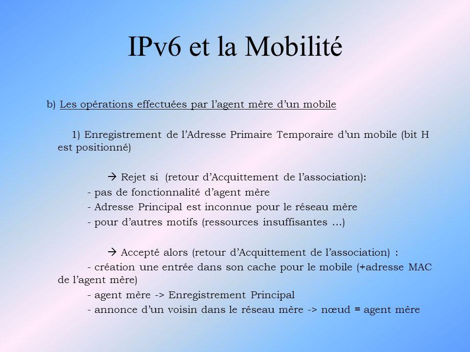 b) Les opérations effectuées par lagent mère dun mobile 1) Enregistrement de lAdresse Primaire Temporaire dun mobile (bit H est positionné) Rejet si (