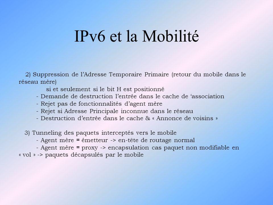 IPv6 et la Mobilité 4) Renumérotation du sous-réseau mère - Cas général : combiner le nouveau préfixe avec son adresse MAC -> valable pour tous les nœuds liés directement au réseau - Cas du mobile éloigné : encapsuler des paquets multicast & les envoyer vers lAdresse Temporaire Primaire du mobile.