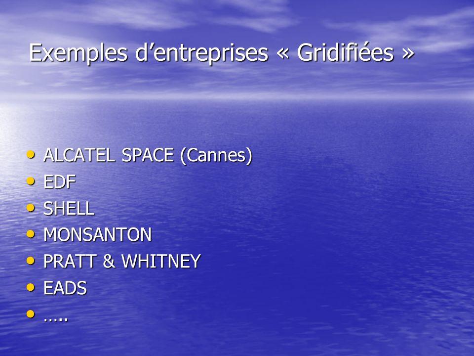 Exemples dentreprises « Gridifiées » ALCATEL SPACE (Cannes) ALCATEL SPACE (Cannes) EDF EDF SHELL SHELL MONSANTON MONSANTON PRATT & WHITNEY PRATT & WHI