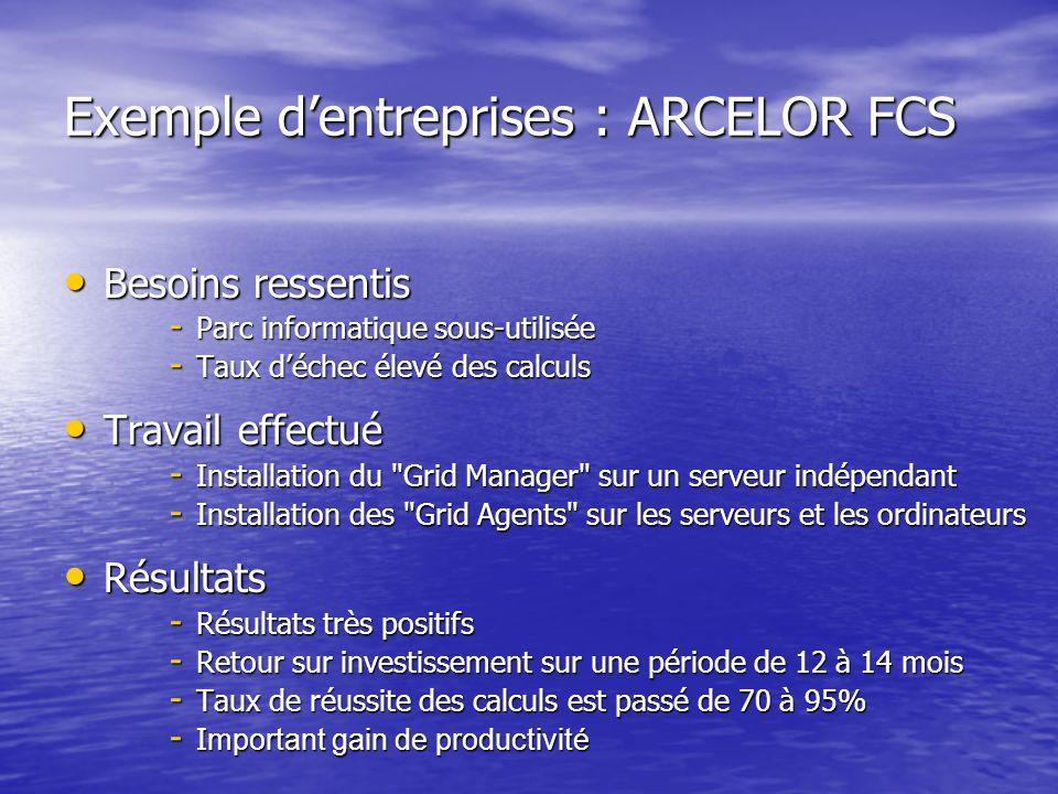 Exemple dentreprises : ARCELOR FCS Besoins ressentis Besoins ressentis - Parc informatique sous-utilisée - Taux déchec élevé des calculs Travail effec