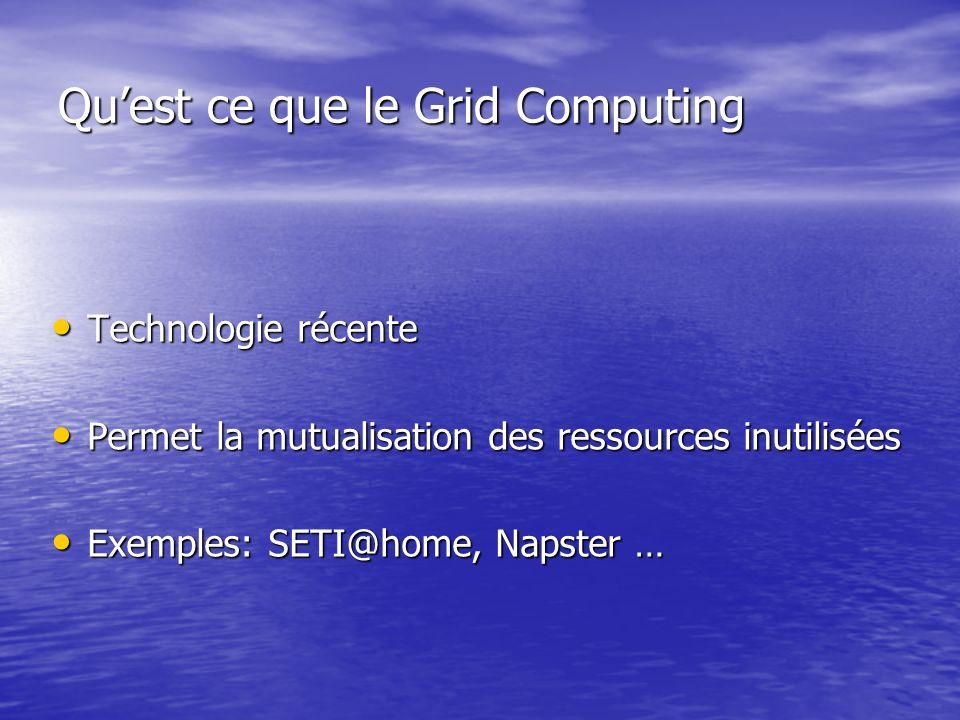 Quest ce que le Grid Computing Technologie récente Technologie récente Permet la mutualisation des ressources inutilisées Permet la mutualisation des ressources inutilisées Exemples: SETI@home, Napster … Exemples: SETI@home, Napster …