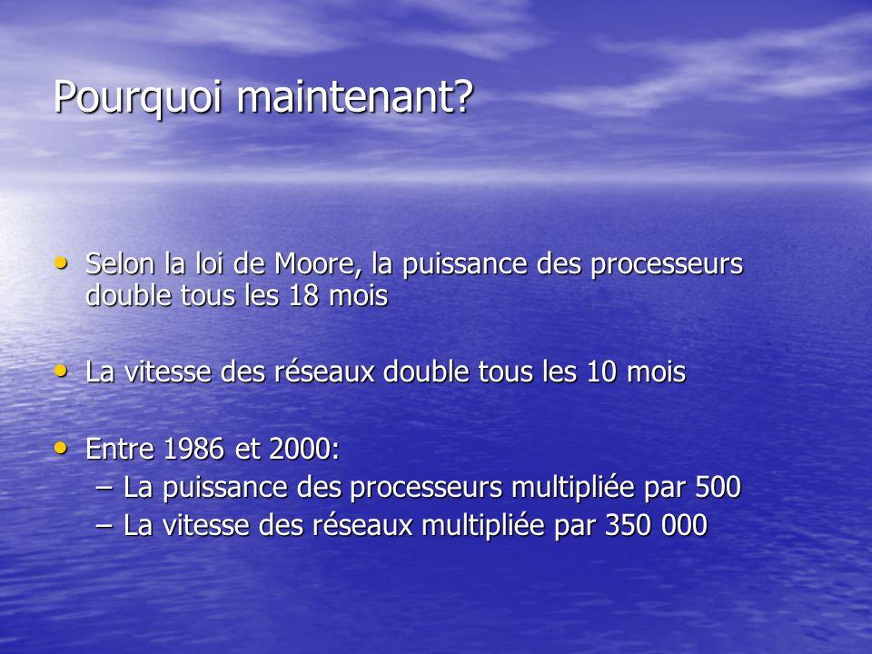 Pourquoi maintenant? Selon la loi de Moore, la puissance des processeurs double tous les 18 mois Selon la loi de Moore, la puissance des processeurs d
