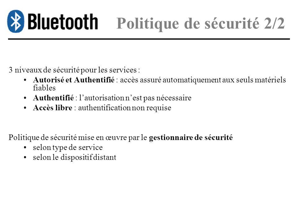 Politique de sécurité 2/2 3 niveaux de sécurité pour les services : Autorisé et Authentifié : accès assuré automatiquement aux seuls matériels fiables