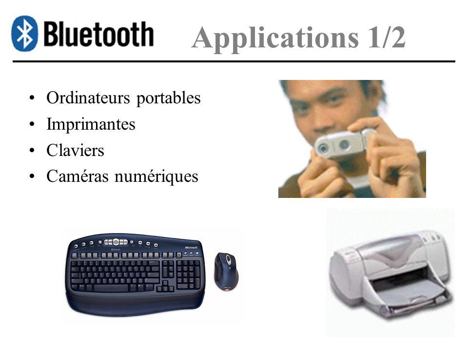 Applications 1/2 Ordinateurs portables Imprimantes Claviers Caméras numériques
