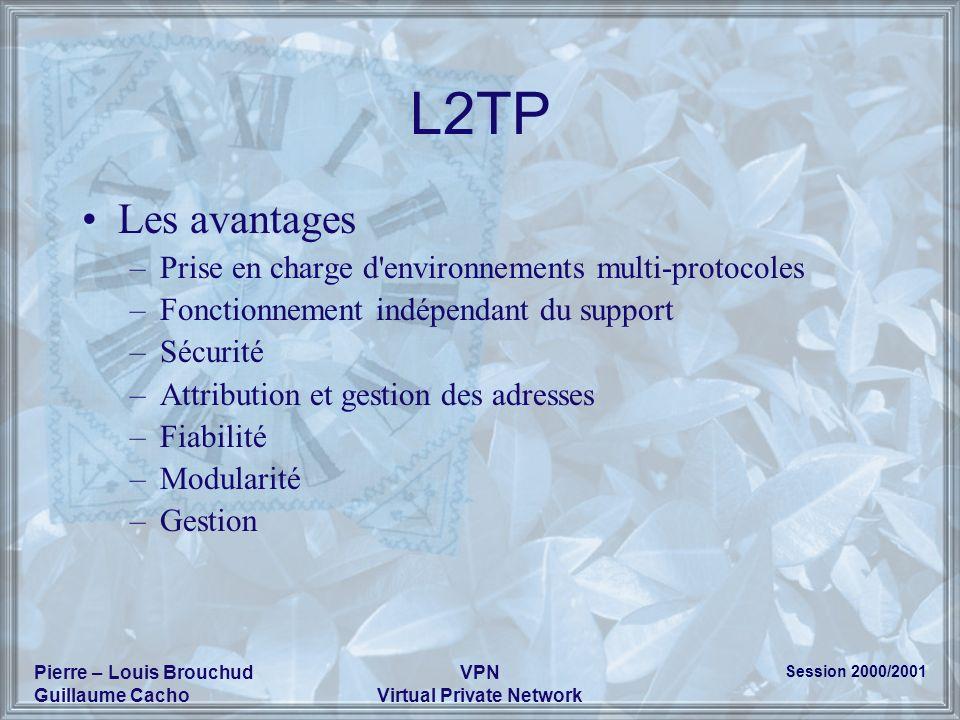 Session 2000/2001 Pierre – Louis Brouchud Guillaume Cacho VPN Virtual Private Network L2TP Les avantages –Prise en charge d'environnements multi-proto
