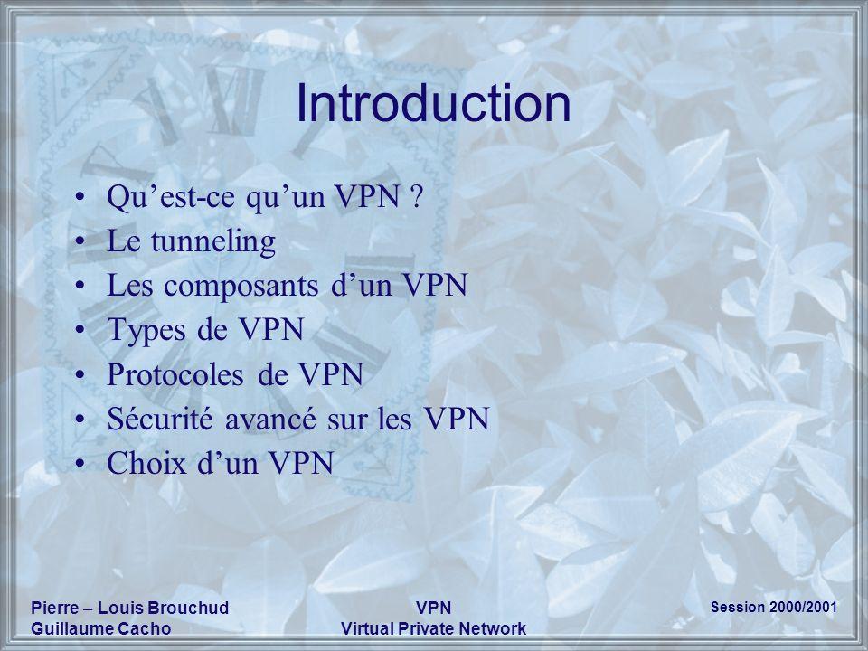 Session 2000/2001 Pierre – Louis Brouchud Guillaume Cacho VPN Virtual Private Network Introduction Quest-ce quun VPN ? Le tunneling Les composants dun