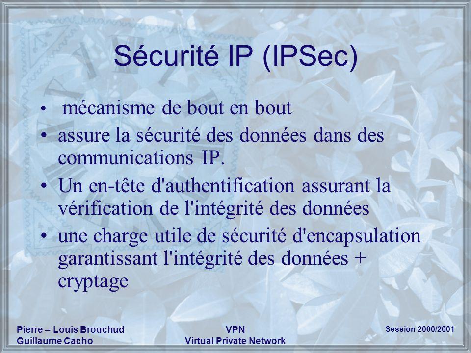 Session 2000/2001 Pierre – Louis Brouchud Guillaume Cacho VPN Virtual Private Network Sécurité IP (IPSec) mécanisme de bout en bout assure la sécurité