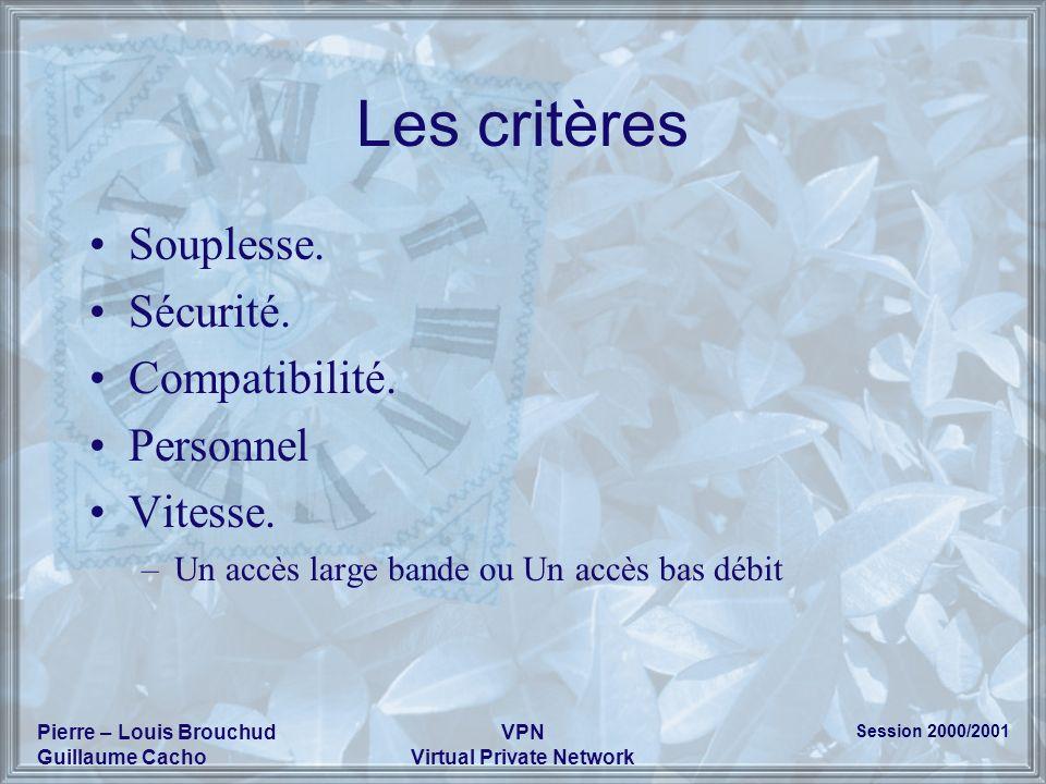 Session 2000/2001 Pierre – Louis Brouchud Guillaume Cacho VPN Virtual Private Network Les critères Souplesse. Sécurité. Compatibilité. Personnel Vites