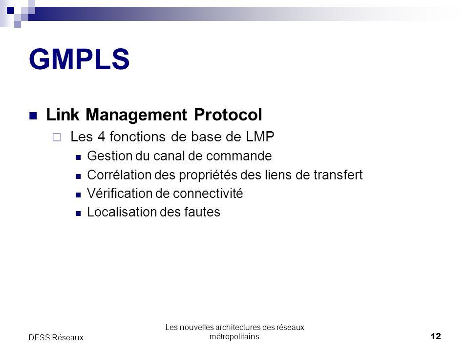 Les nouvelles architectures des réseaux métropolitains12 DESS Réseaux GMPLS Link Management Protocol Les 4 fonctions de base de LMP Gestion du canal de commande Corrélation des propriétés des liens de transfert Vérification de connectivité Localisation des fautes