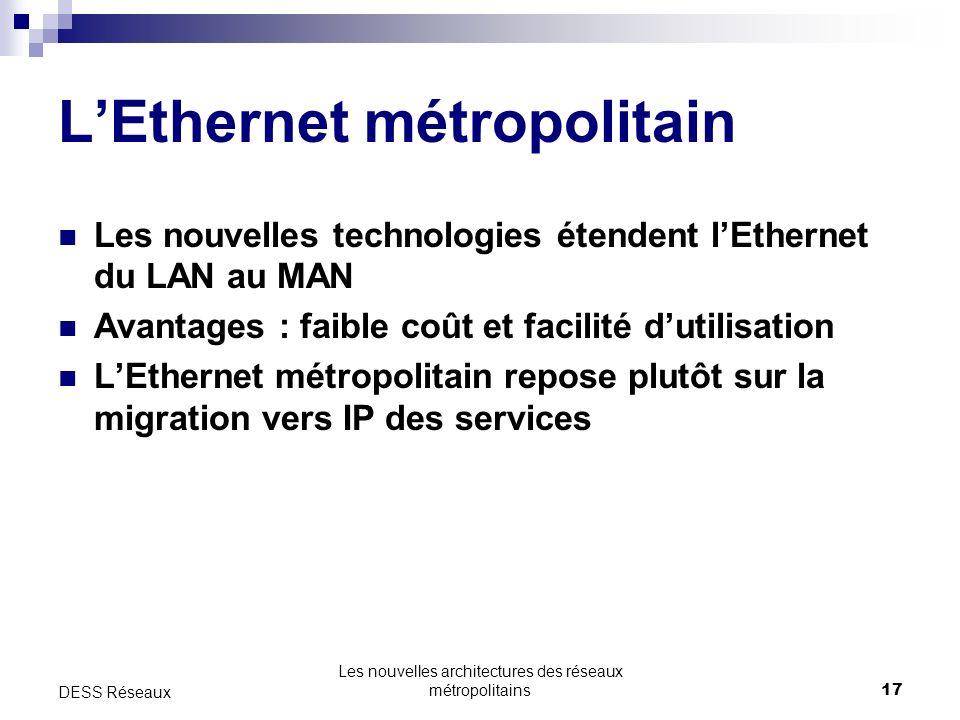 Les nouvelles architectures des réseaux métropolitains17 DESS Réseaux LEthernet métropolitain Les nouvelles technologies étendent lEthernet du LAN au